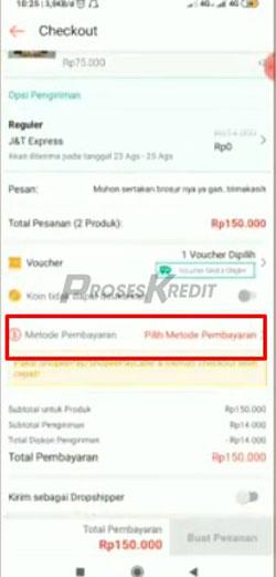 5. Pada menu checkout pilih Metode Pembayaran