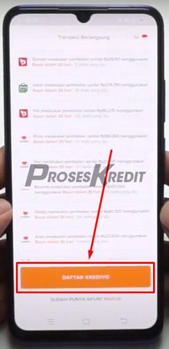 Selanjutnya klik Mulai dan pilih Daftar Kredivo
