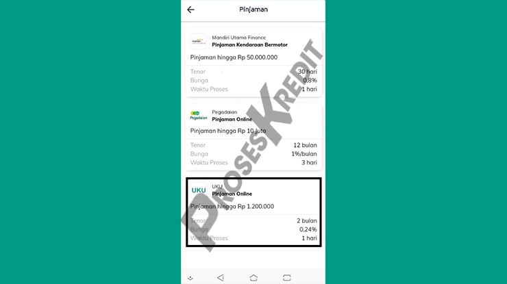 Pilih UKU Pinjaman Online