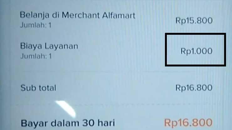 Biaya Admin Belanja di Alfamart