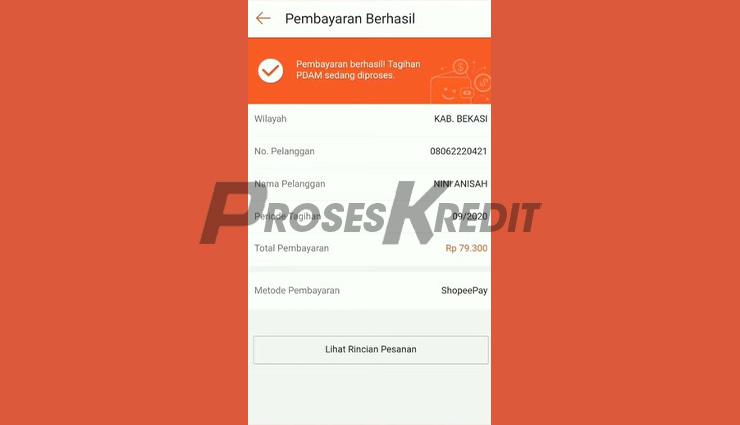 Bayar PDAM Pakai Shopee PayLater Berhasil