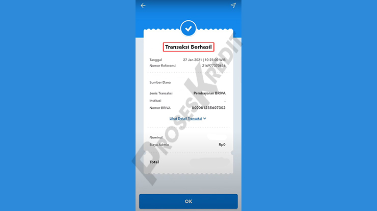 Transaksi Berhasil Bayar DANA PayLater via BRImo